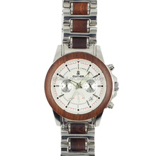 Casual men and women design quartz wood wrist watch stainless steel with wood band