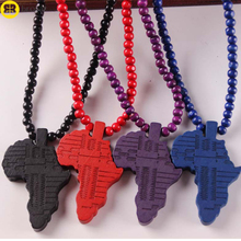 Wholesale Wood Beads Chain Hip Hop Wooden Africa Map Pendant Necklace
