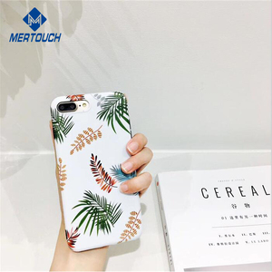 Fashion Creative design Summer leafs IMD soft full protective phone case for iphone 6 6plus 7 7plus