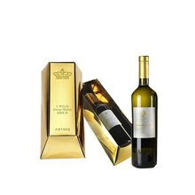 Luxury glossy gold card paper box for 1 bottle gift wine pack