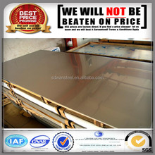 supplier low price 304 gold mirror stainless steel sheet