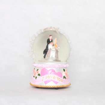 Promotional custom love wedding snowstorm globes music
