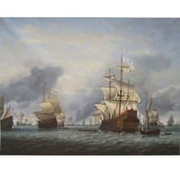 The setting sun of pirate ship sea battle ocean seascape oil painting