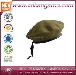 Military style ceremonial march uniform accessories red color pure wool berets