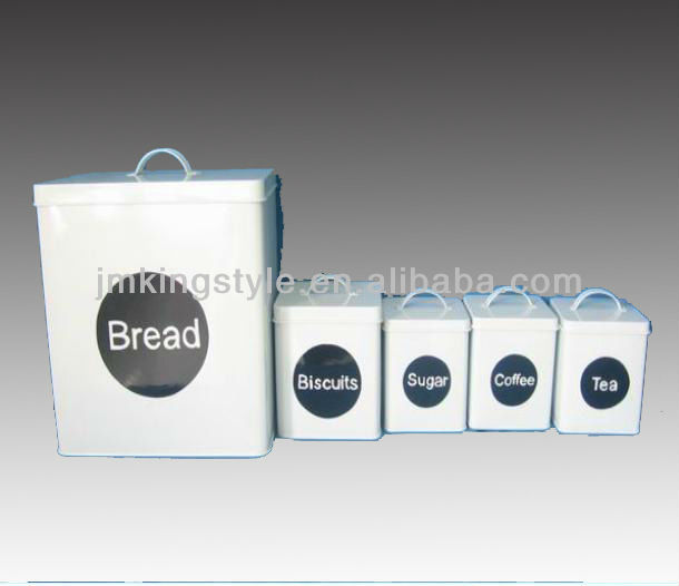 FDA past galvanized White kitchen canister set