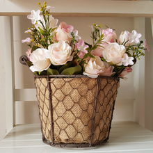 round metal wire basket flower planter pot with liner