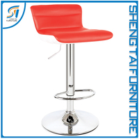 High quality PU leather swivel bar stool with low back