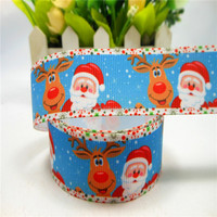 Christmas and New Year Celebrate It Santa Claus Reindeer Prints Ribbon