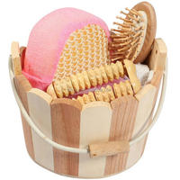 Small Handle Cute Wooden Baby Bath Gift Set