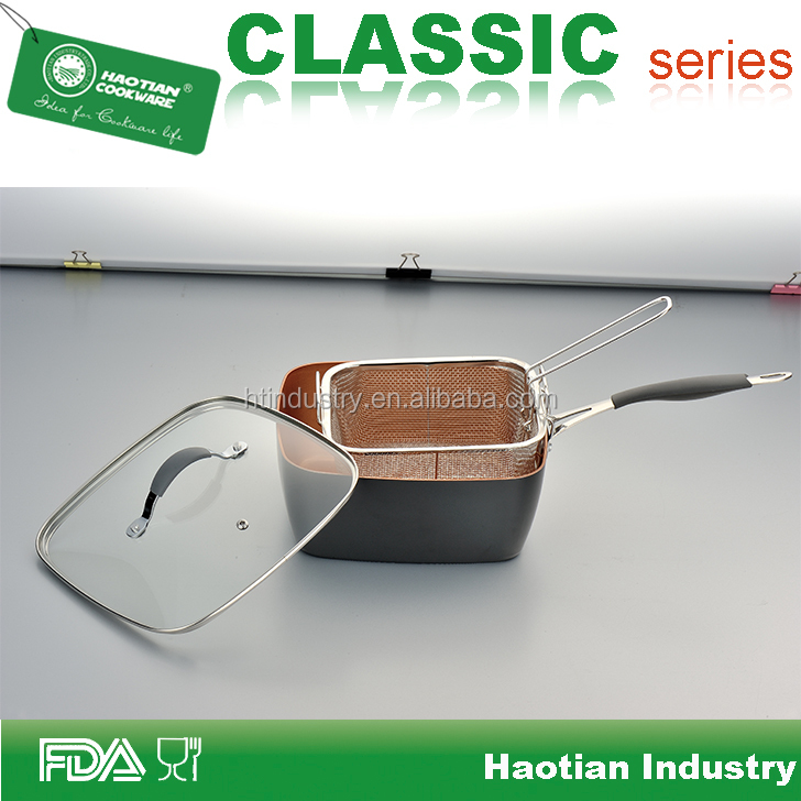 New 9.5inch Copper Square Pan with Lid, Frying Basket, Steamer Tray