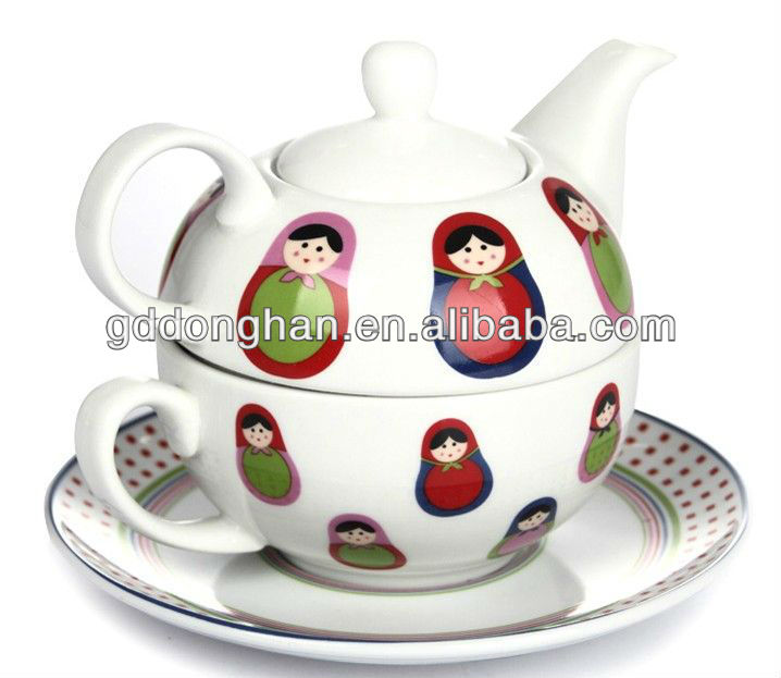 China supplier factory direct wholesale personalized handpaint porcelain tea cup and pot in one