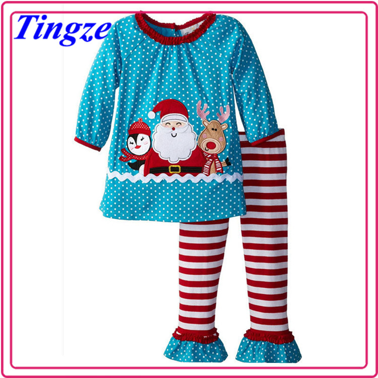 Wholesale lastest cotton long sleeve children clothing outfit childrens christmas boutique Santa clause baby clothing in stock