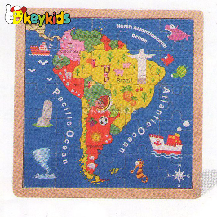 2016 wholesale baby wooden world map jigsaw puzzle, fashion kids wooden world map jigsaw puzzle W14C143