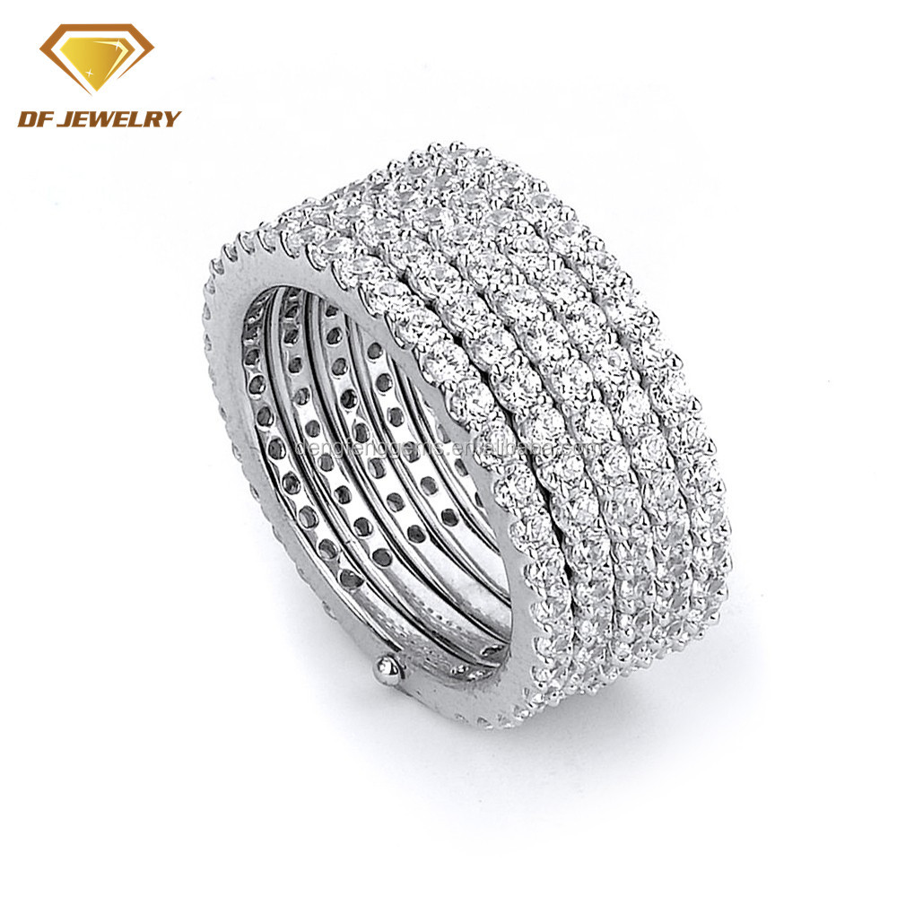 925 Sterling Silver Jewelry 18K Rhodium Plated 5 rows AAAAA Cubic Zircon Silver Man Ring