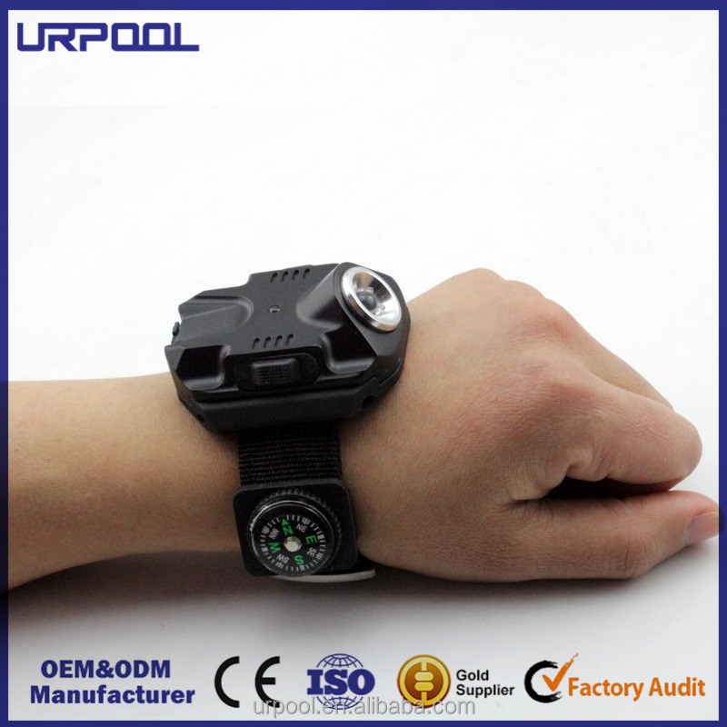Portable Compass equipment Led Wrist Watch Light Torch Light USB Charging Wrist Tactical Torch