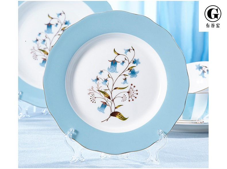 "Bone china plates -Orchid Pavilion series ceramic 8"" 10""dinner plates"
