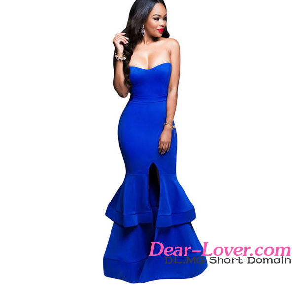 Arabic style Royal Blue Strapless Padded Ponte Gown women dresses summer maxi