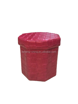 Printed Leather Fabric Multiple Colors Hexagonal Foldable Storage Stool
