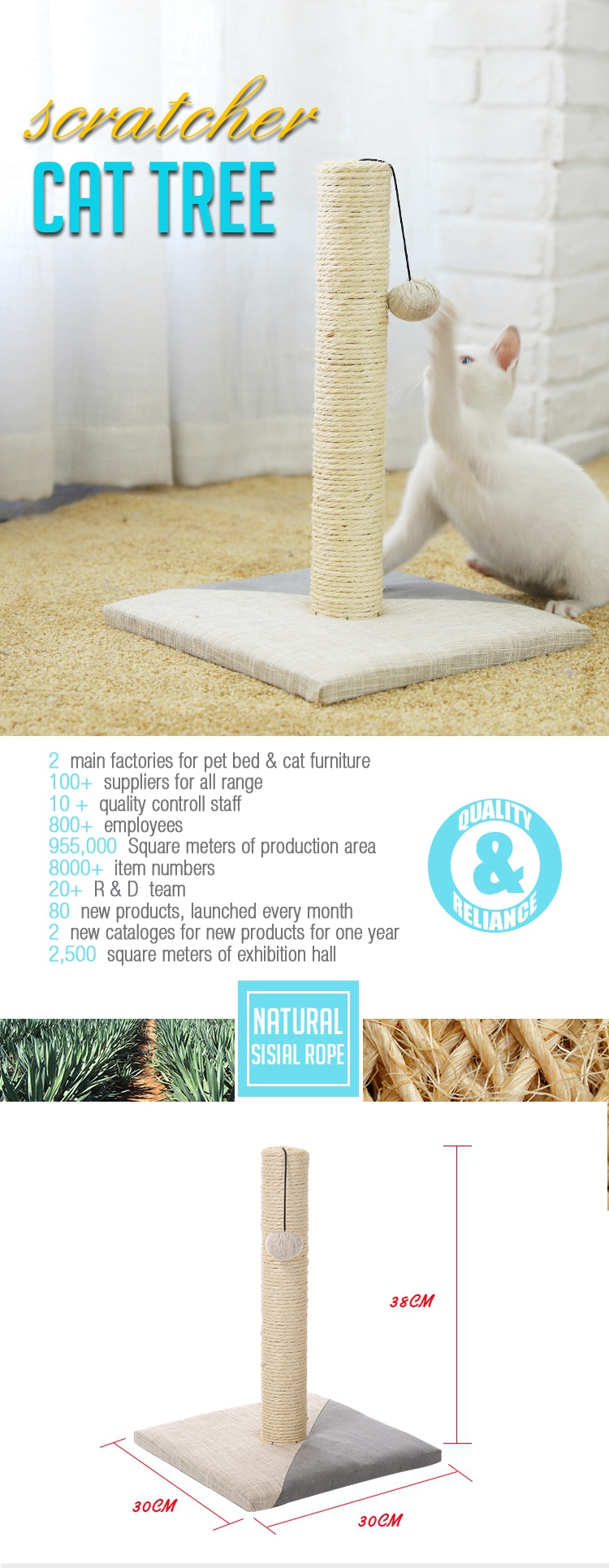 Small and convenient cat samples cat scratching post tree with high quality sisal and ball toy