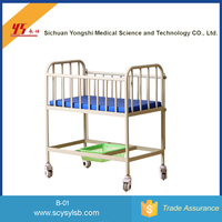 Movable Steel hospital baby bassinet for medical