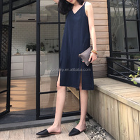 Korean New Style 2017 Stripe Fashion Maxi Dress Casulal Deep V Neck Backless Beach Summer Dress Simple Split Girl Dress