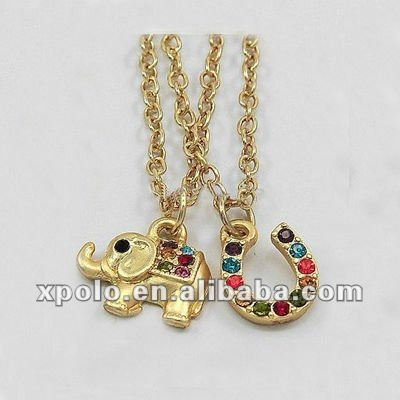 Charm Women Gold Plated Elephant Pendant Necklaces With Crystal