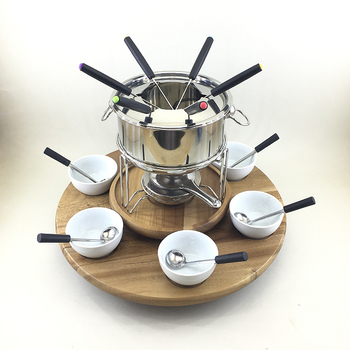 New design heat resistant sterno cheap hot fondue chocolate with tray  for cheese