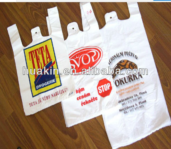 HDPE / plastic t shirt bags with printing
