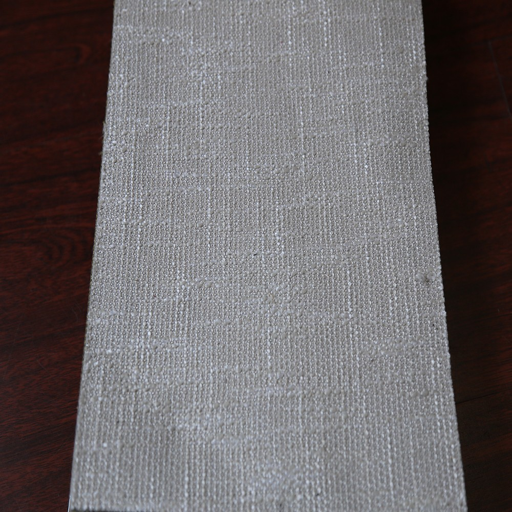 Heavy used stage plain mixed linen window curtain fabric for slide window drapery