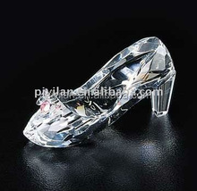 fashion new design bowtie decoration clear crystal glass shoe