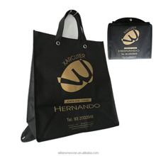 China Factory Wholesale Custom Logo Black Color PP Non Woven Fabric Foldable Shopping Bags