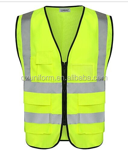 Traffic Clothing Safety With Reflective Pockets Hi Vis Vest