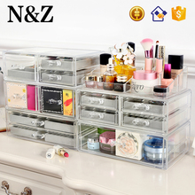 NZ A232 Cosmetic Organizer With Jewelry Ring Tray Drawer Acrylic Jewelry Box