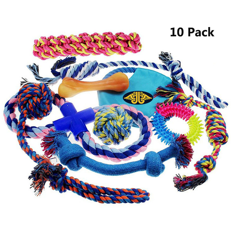 10 Pack Gift Pet Set Variety Health Benefits strong chew rope Interactive dog toy
