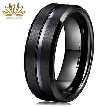 Classic 8mm Black Tungsten Carbide Wedding Band Ring Polished Finish Grooved Center Comfort Fit