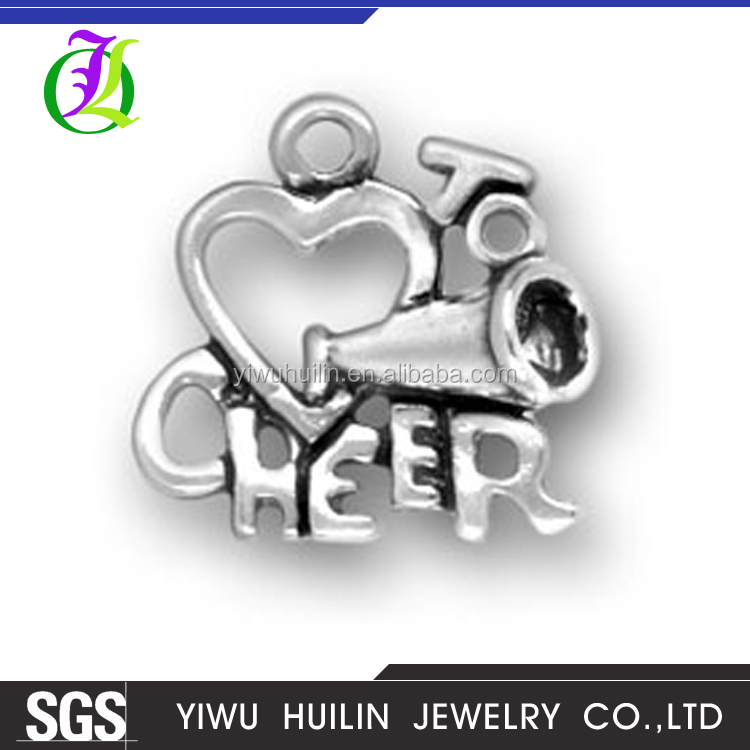CN186364 Yiwu Huilin jewelry I love to cheer charms silver plated Cheerleader Megaphone Charm pendants Cheerleading
