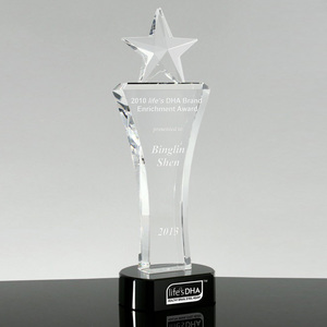 Popular new design heart shape crystal award glass awards for souvenir gifts crystal crafts