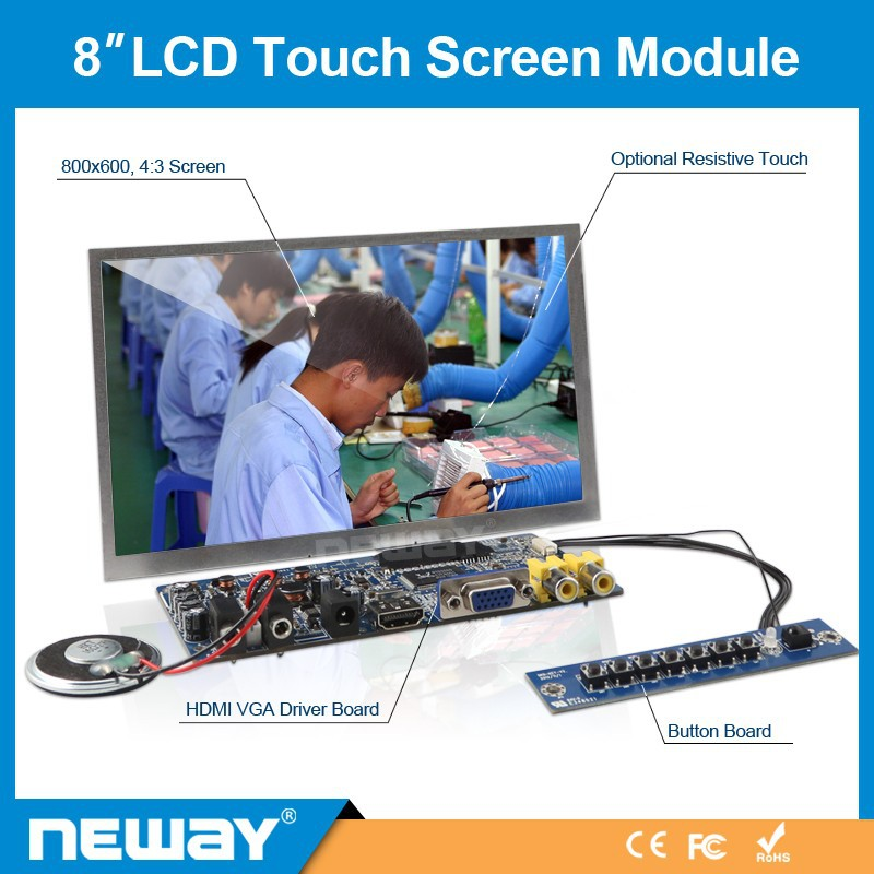 800x480 Resolution 8 Inch TFT LCD Display with Touch Panel