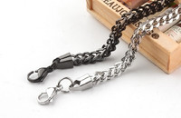 Wholesale Stainless Steel 18k Gold/Black/Silver Mens Casual Twisted Necklace Widen Punk Chains Link