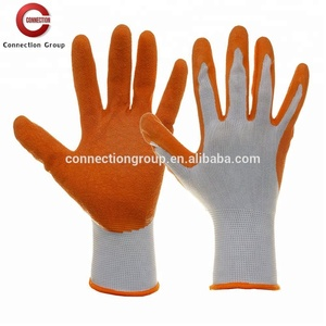Flexible White Polyester Knitted Liner Coated Orange Latex Glove Safety Work Glove