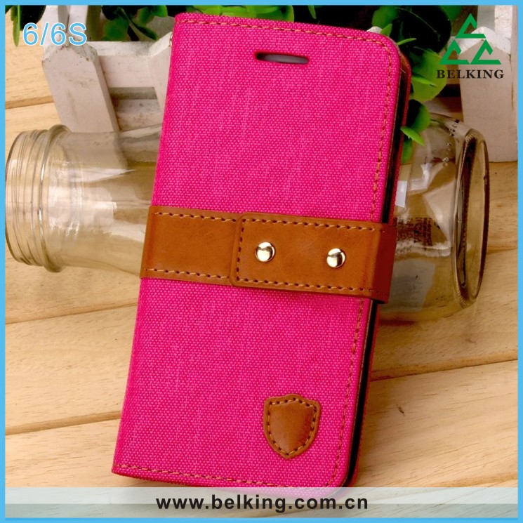 Alibaba China Manufacturer Wholesale Contrast Color PU Leather Card Wallet Holster Case For iPhone 6/For iPhone 6Plus Jean Cover