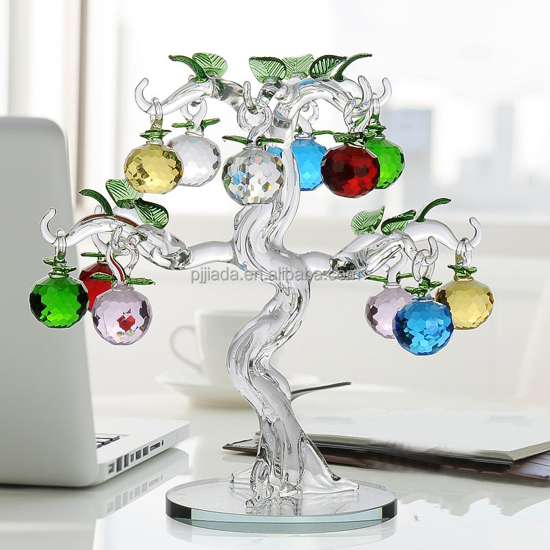 Colorful christmas ornament decoration 3d laser block cheap apple tree crystal wedding return gifts crystal apple tree