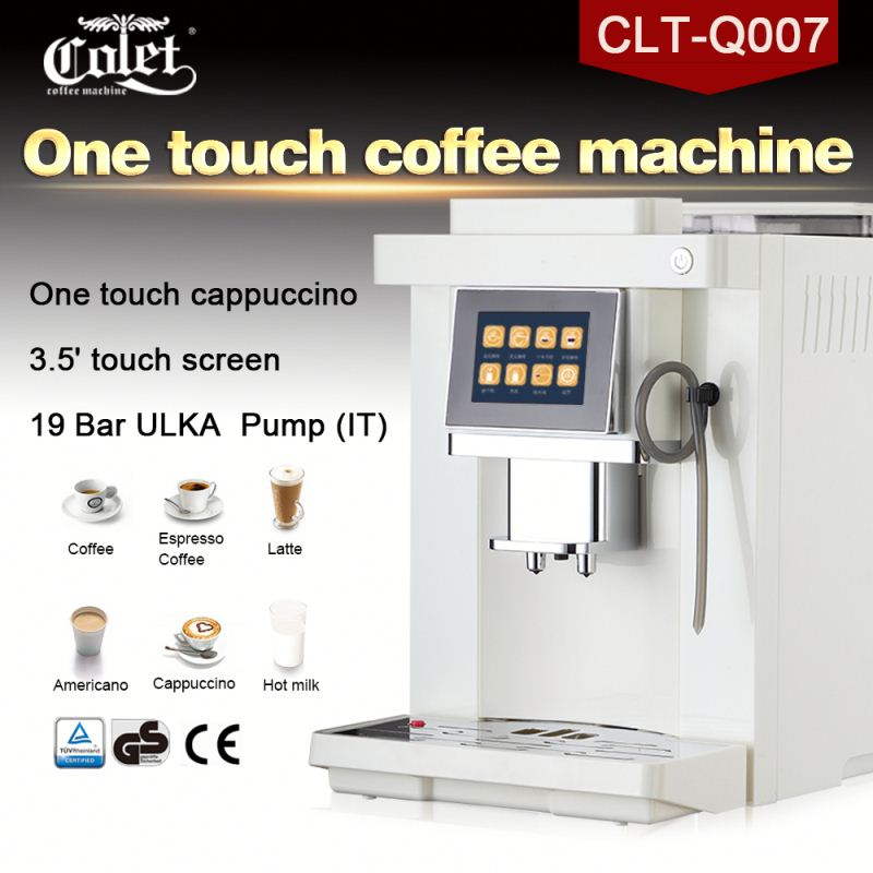 3.5' touch screen white and black color coffee machine italian