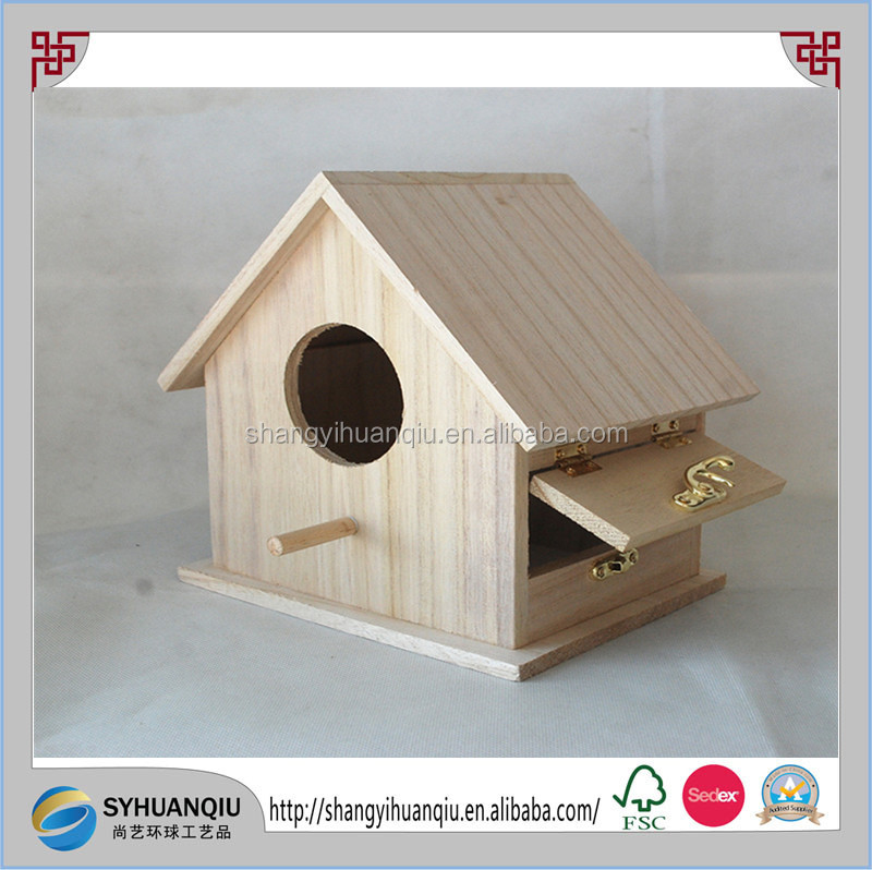 Paulownia wooden bird house with a side door easy to cleaning CN