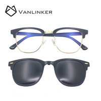 High Quality Private Label Sunglasses Metal Bridge Half Frame Italy Polarized Clip On Magnetic Sunglasses