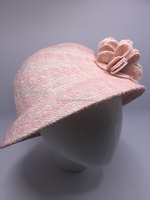lace bowler hat with handmade lace flowers for little girls