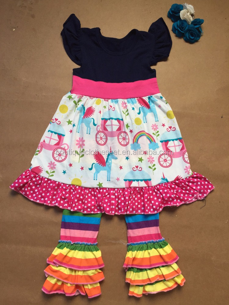 halloween boutique outfits wholesale children's boutique clothing rainbow unicorn carriage top&striped icing legging set