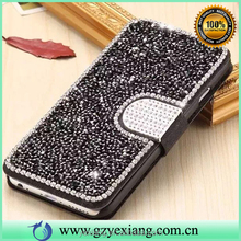 Superior quality crystal pu leather wallet case for iphone 5 flip case with card slot