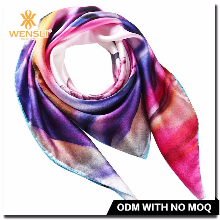 Chinese Shawl Scarves Women Custom Digital Print Turkish Square 100% Silk Satin Muslim Pakistani Scarf Hijab