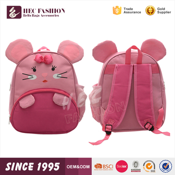 HEC Wholesale Pink Color Mouse Shaped Girls Kids Children School Bags